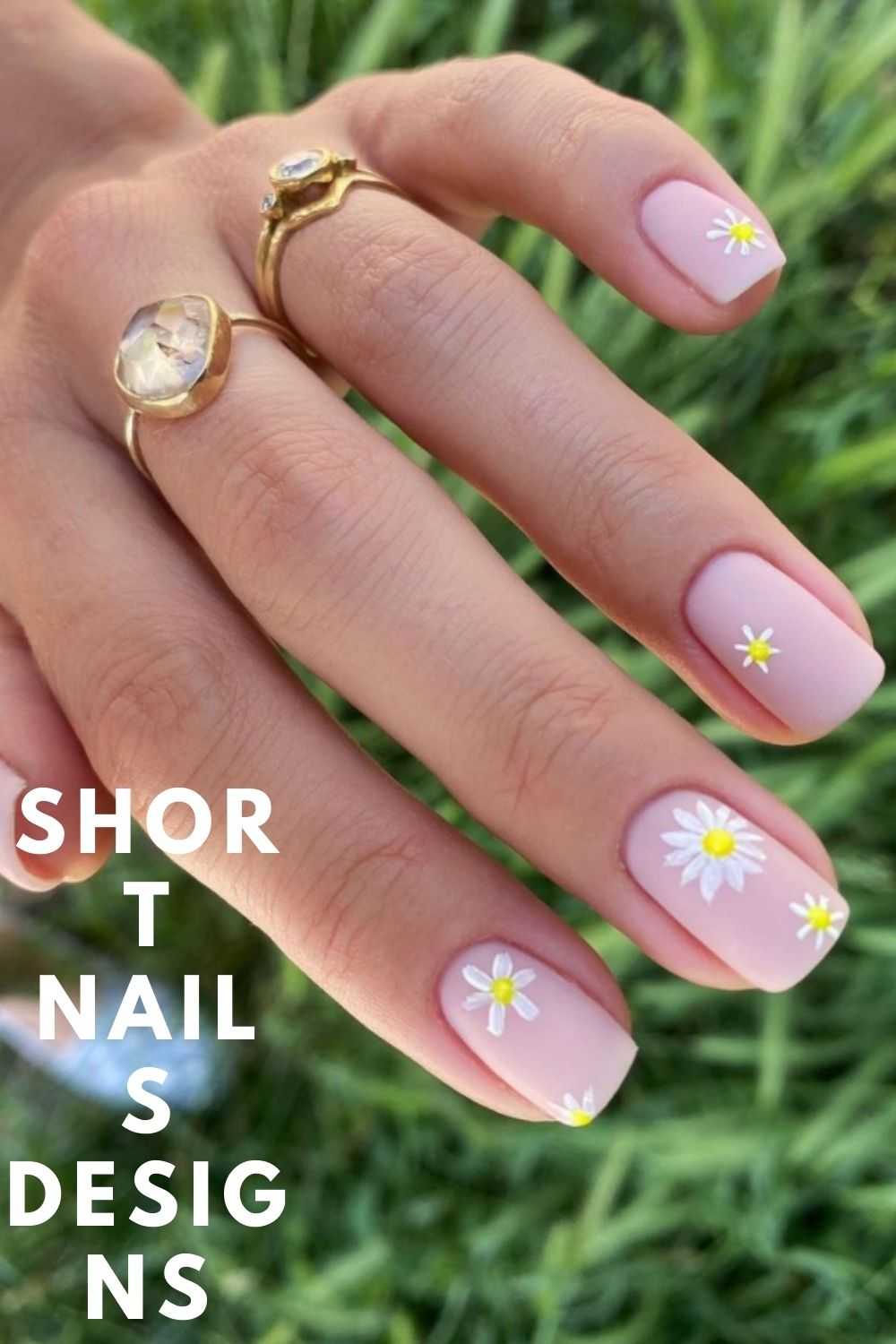 Pink short nail designs with flowers