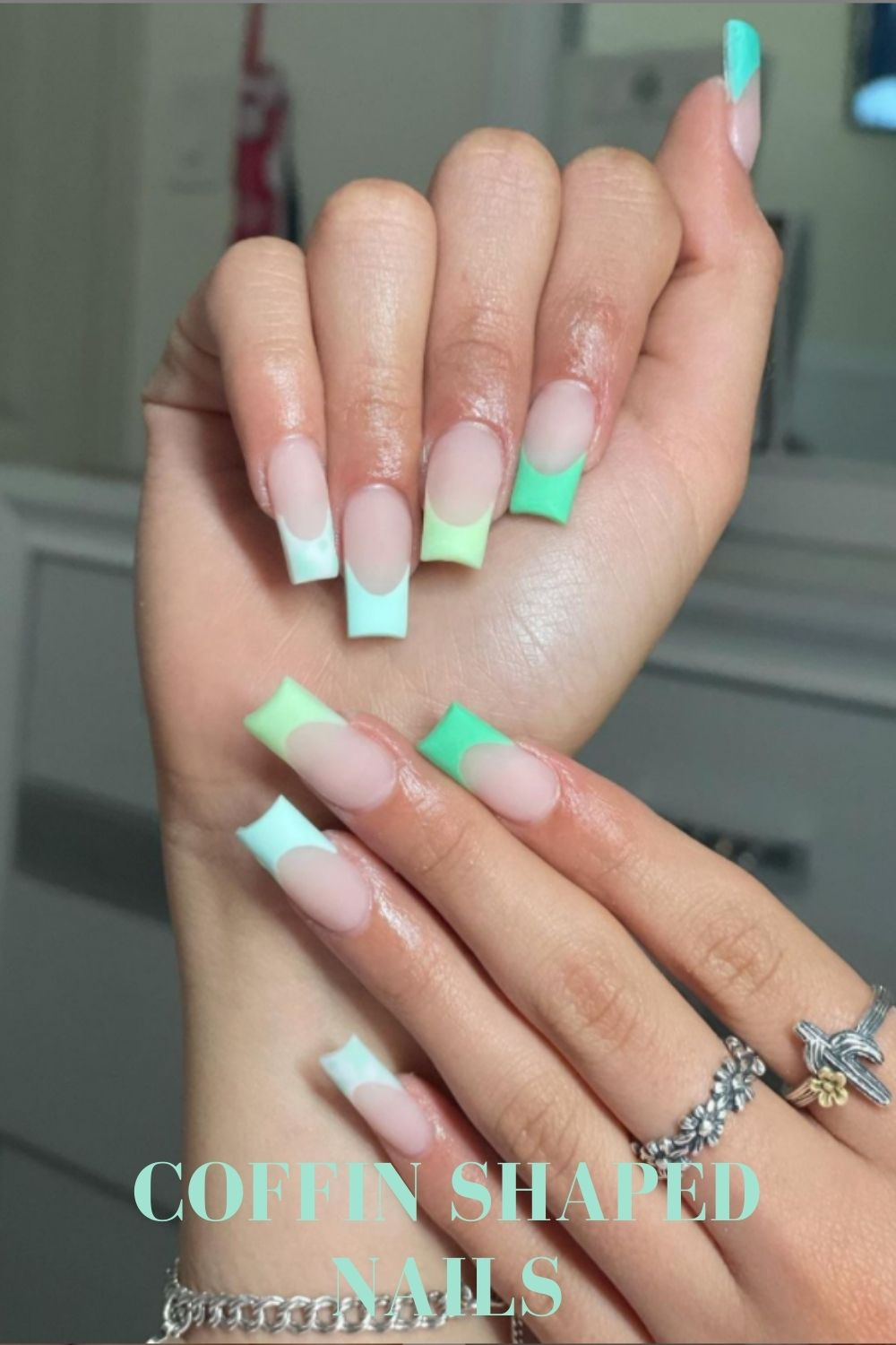 Neon green and white tip coffin nail design