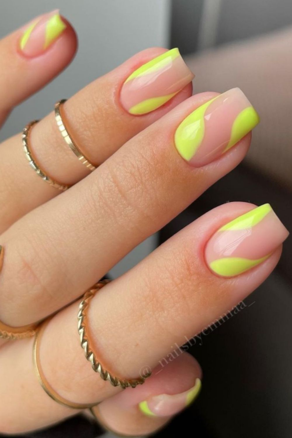 Yellow and nude square nail art