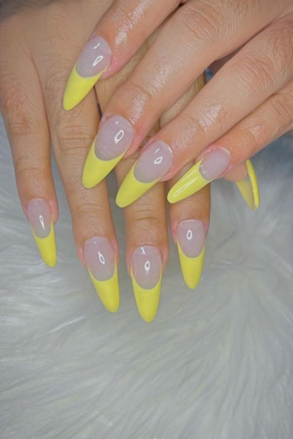 Yellow tip nails designs