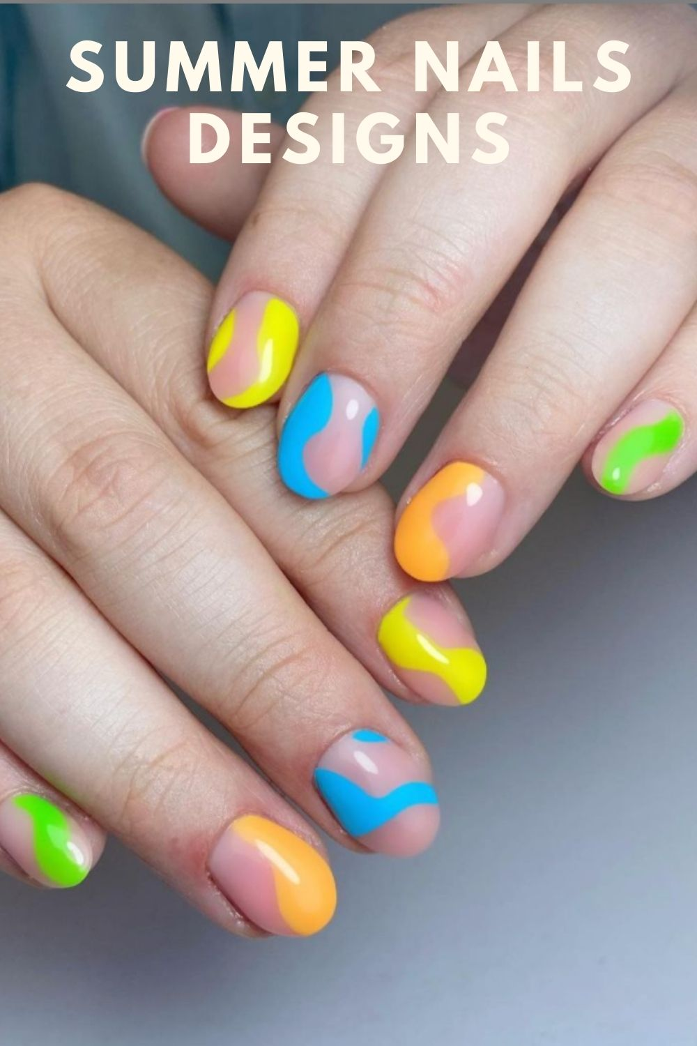 Yellow and light blue short nails