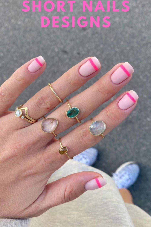 Pink short nails art
