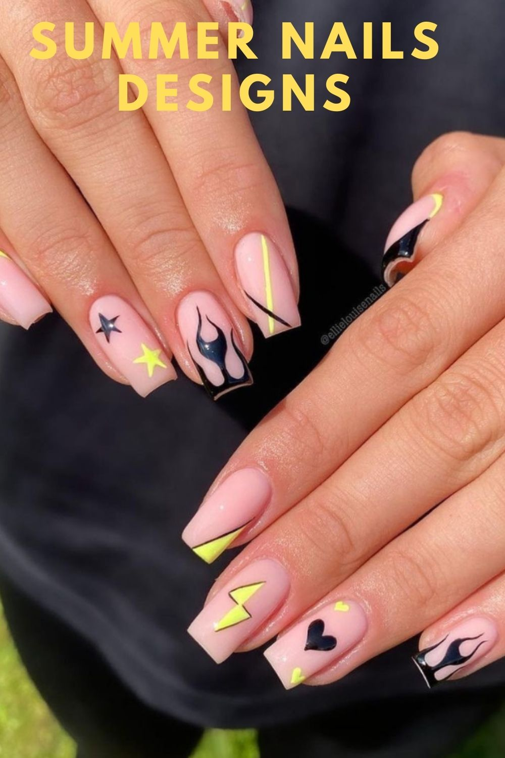 Black and yellow coffin nails ideas for summer nail art design