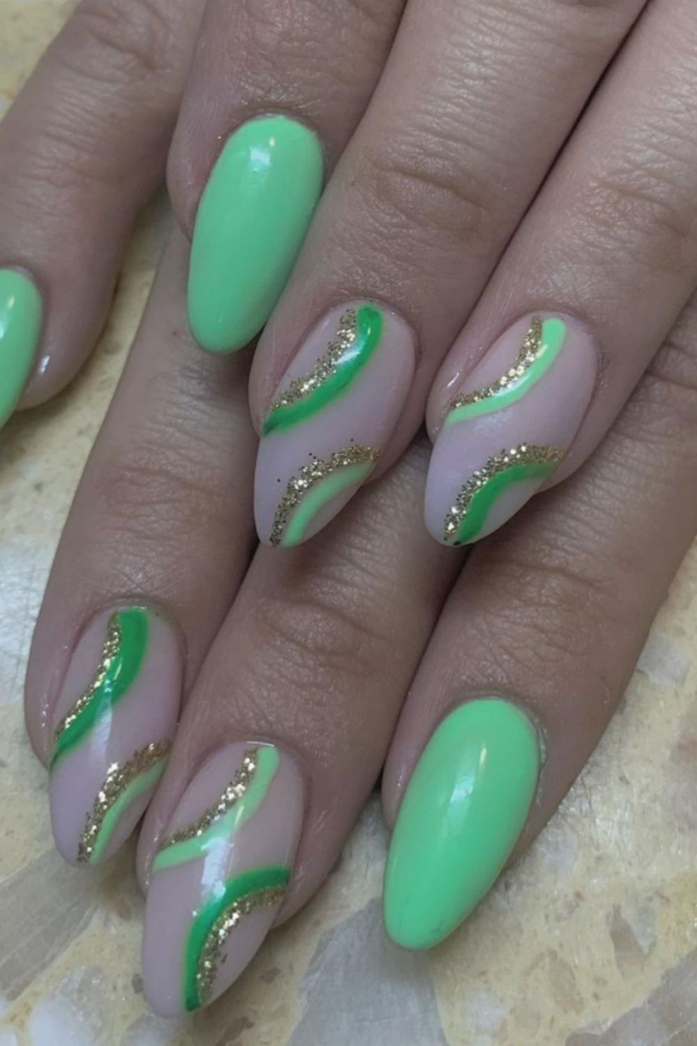 Glitter green oval nails art designs for long nails