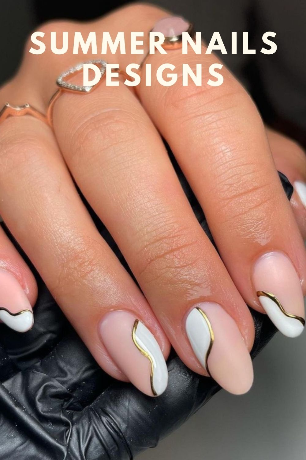 Classy white and pink almond nail shape