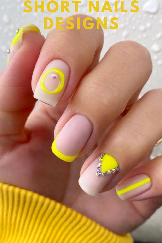 Yellow short nail designs for summer nails 2021