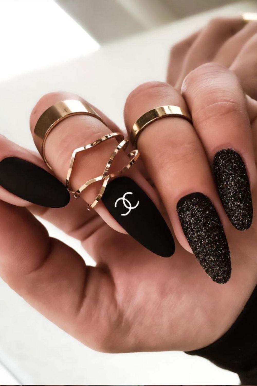 Matte black and glitter nails