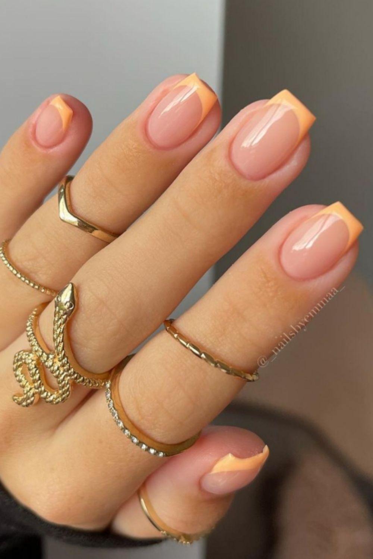 Orange tip nails