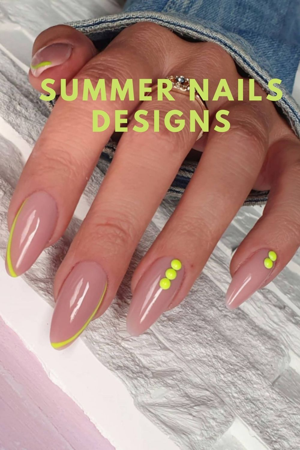 Yellow and pink almond nails designs