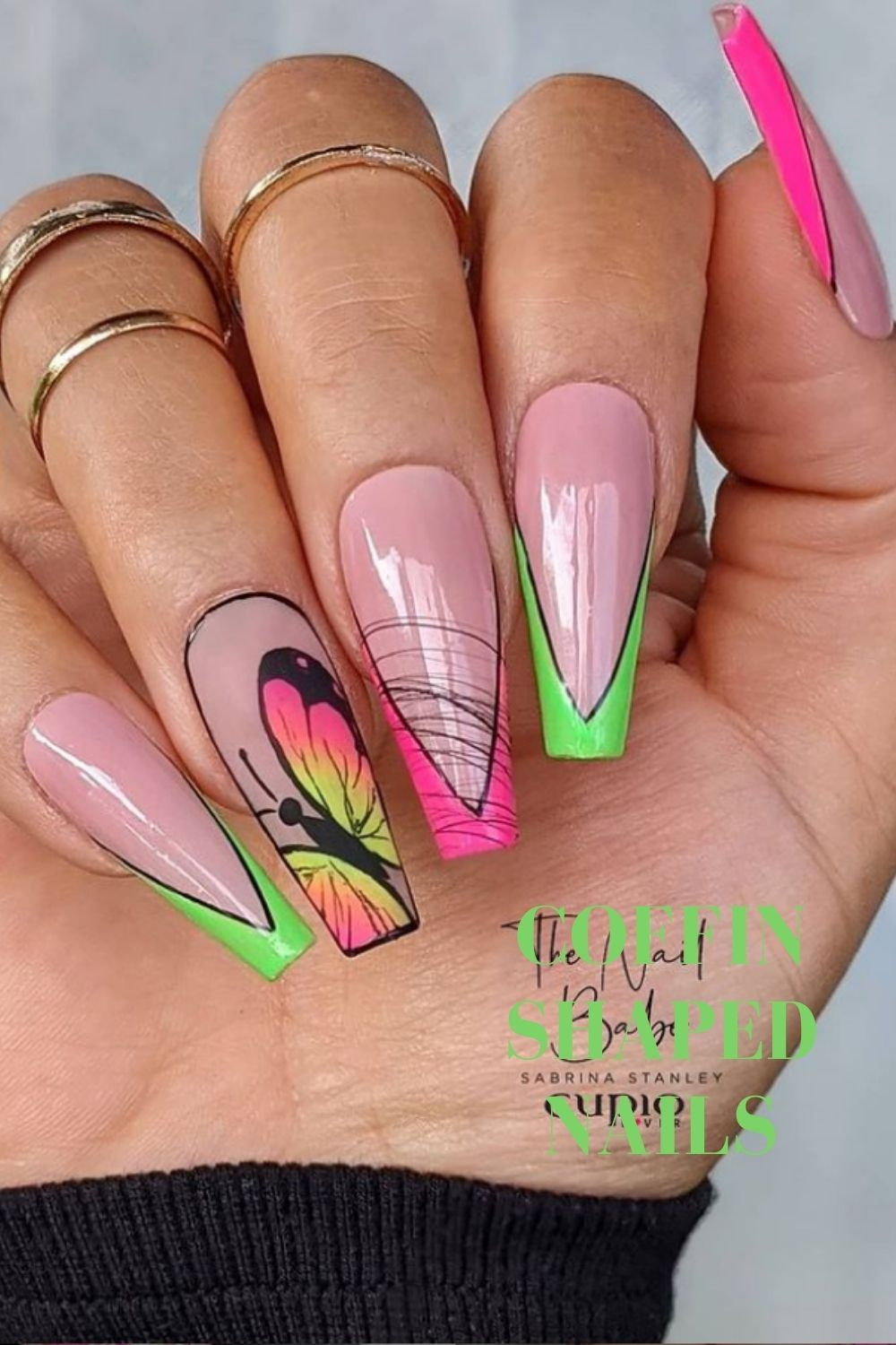 Coffin nails art with butterfly