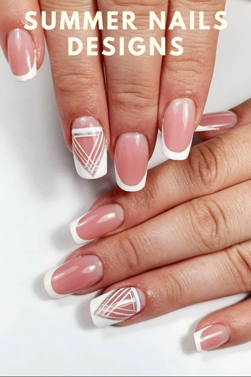 Square nails with pink and white