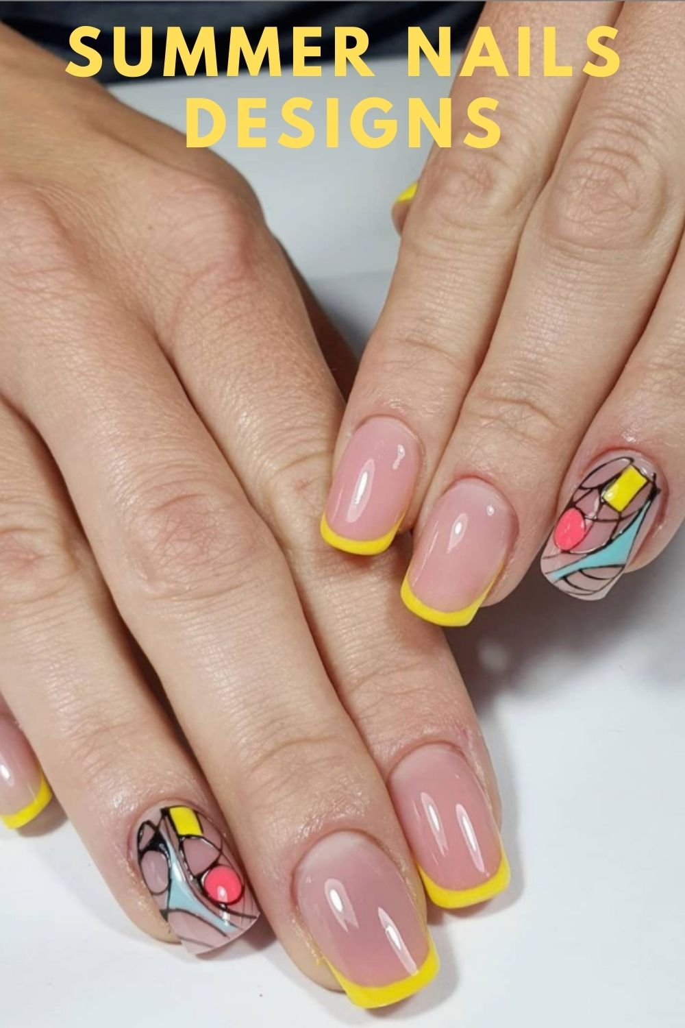 Yellow tip square nails