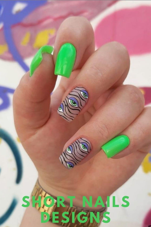Green short nails art