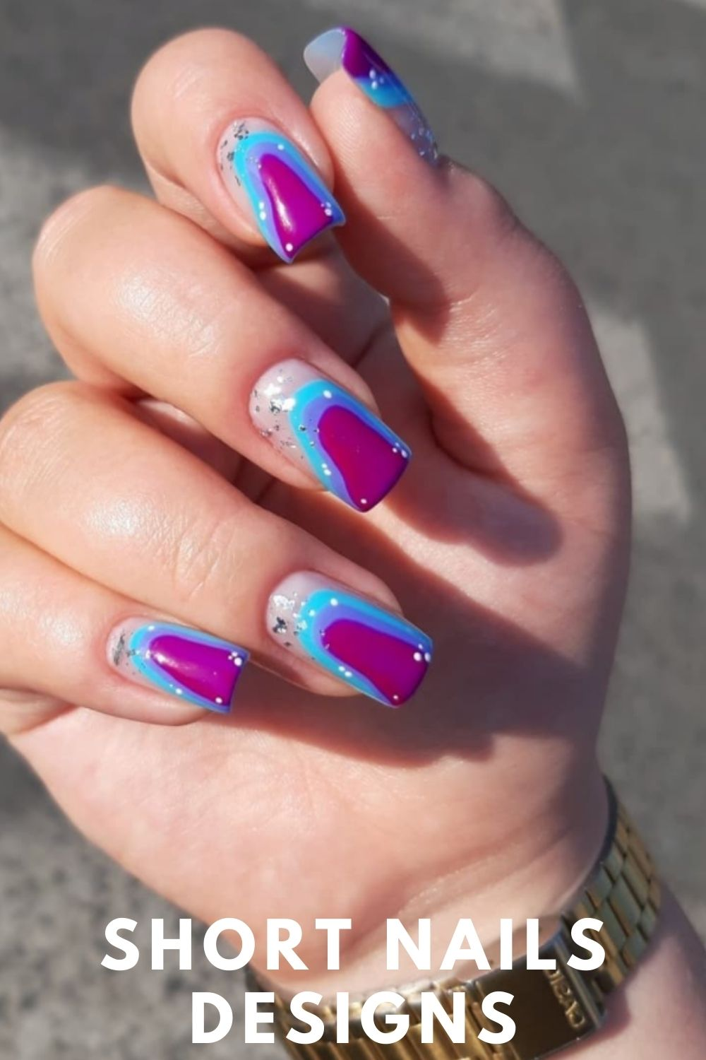 Light blue and purple nails