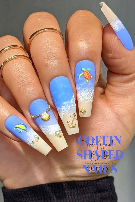 Beach coffin nail design