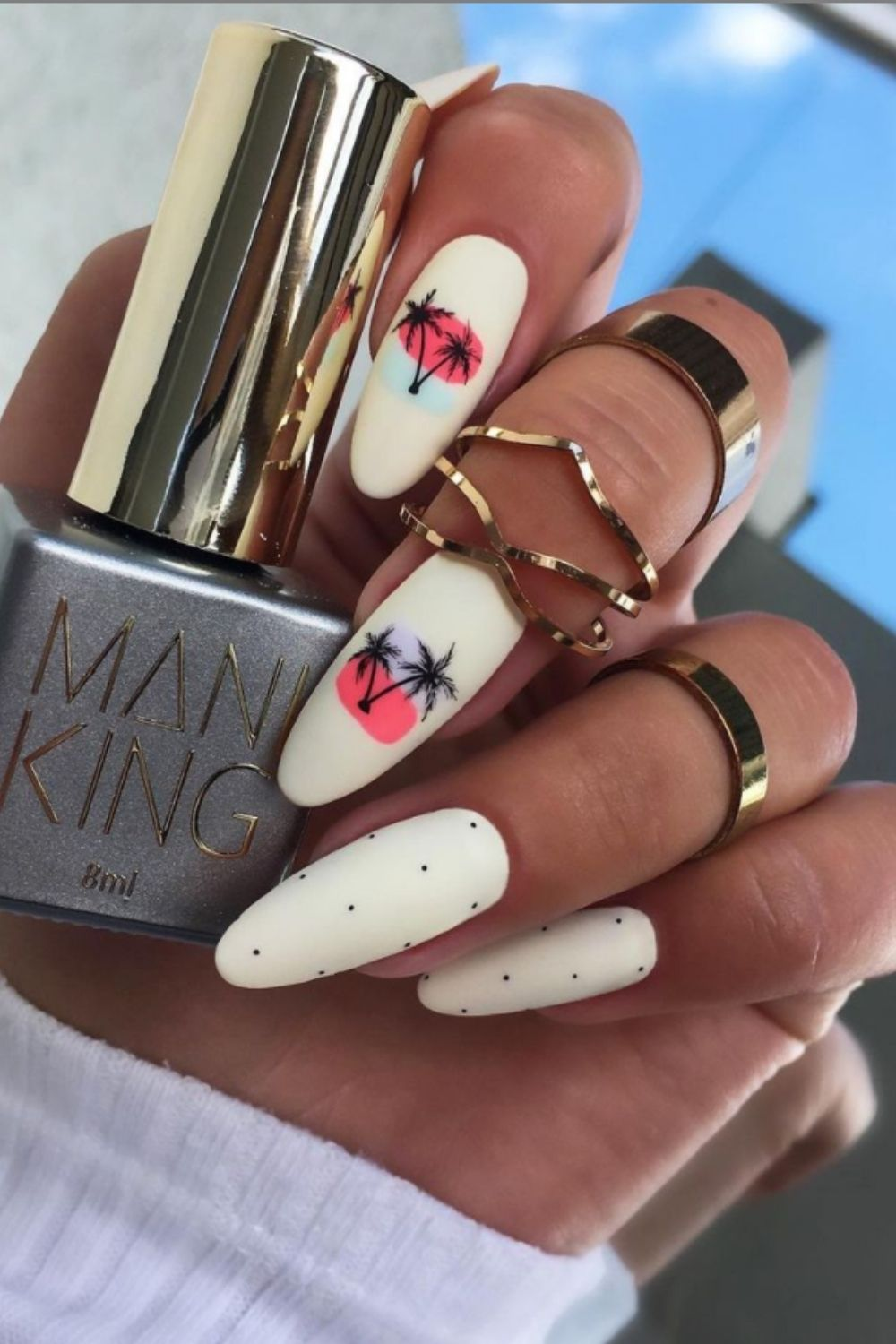 White almond nails with palm tree