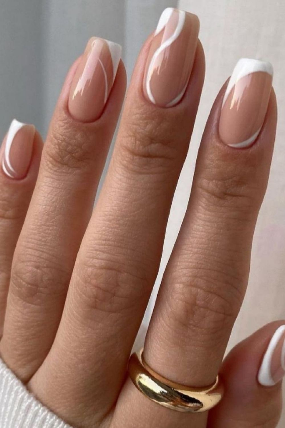 Nude and white square nail designs