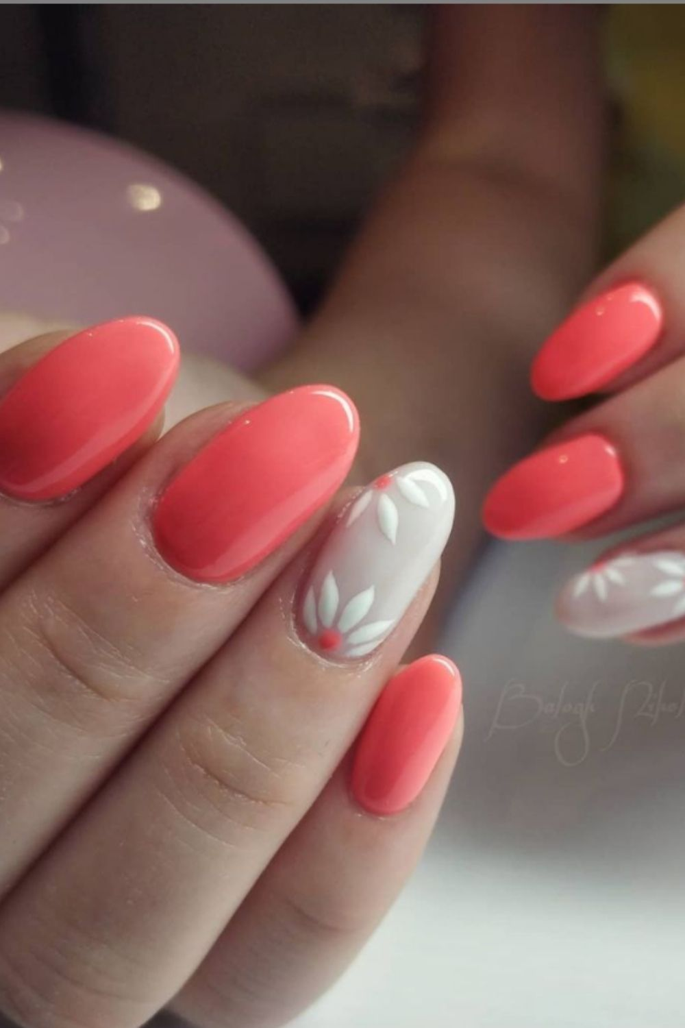 White and red oval nails art designs for summer nails