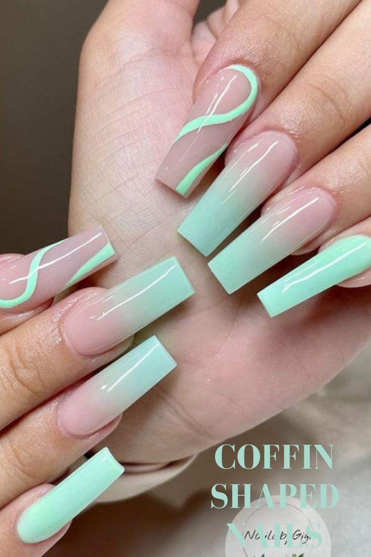 Coffin nail design for summer nail art