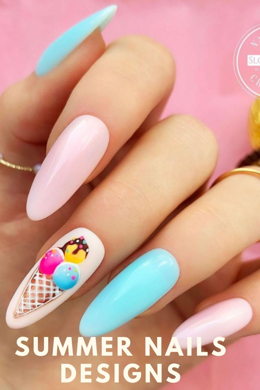 Almond nails designs with Ice cream