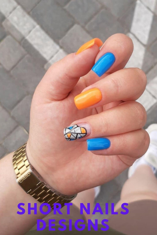 Blue and orange nails art