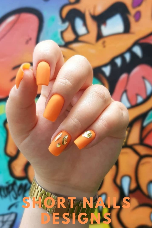 Orange and gold nails art ideas