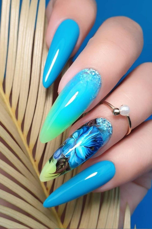 Light blue almond nails art