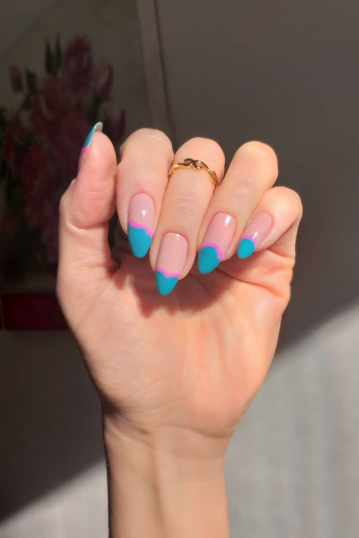 Blue tip almond nails ideas