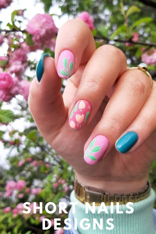 Short nail design with peach blossom