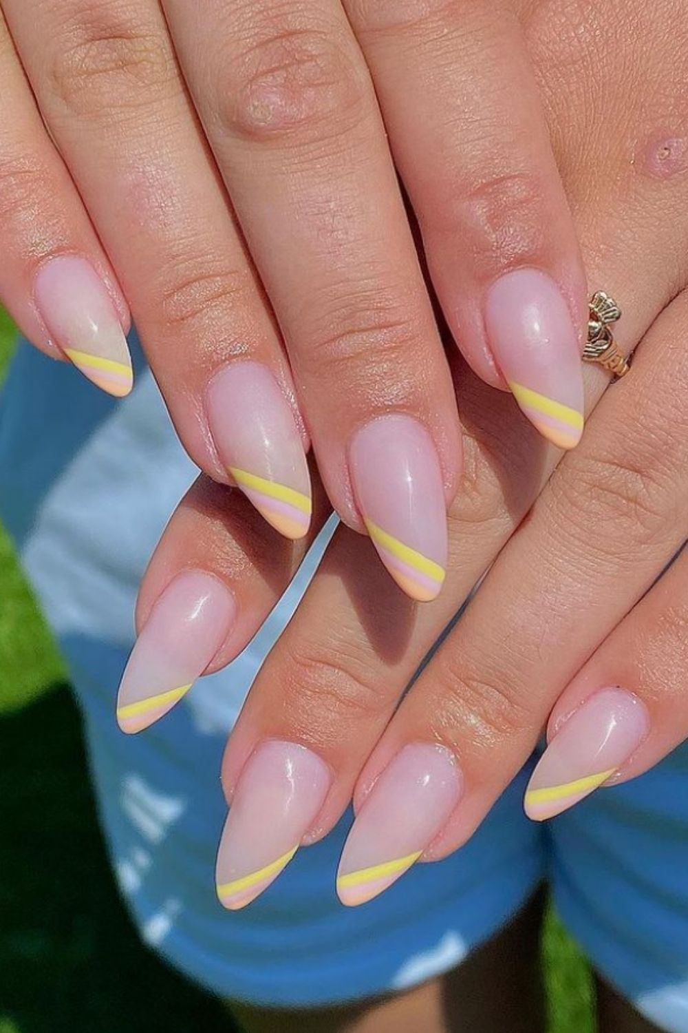 Pink and yellow almond nails designs