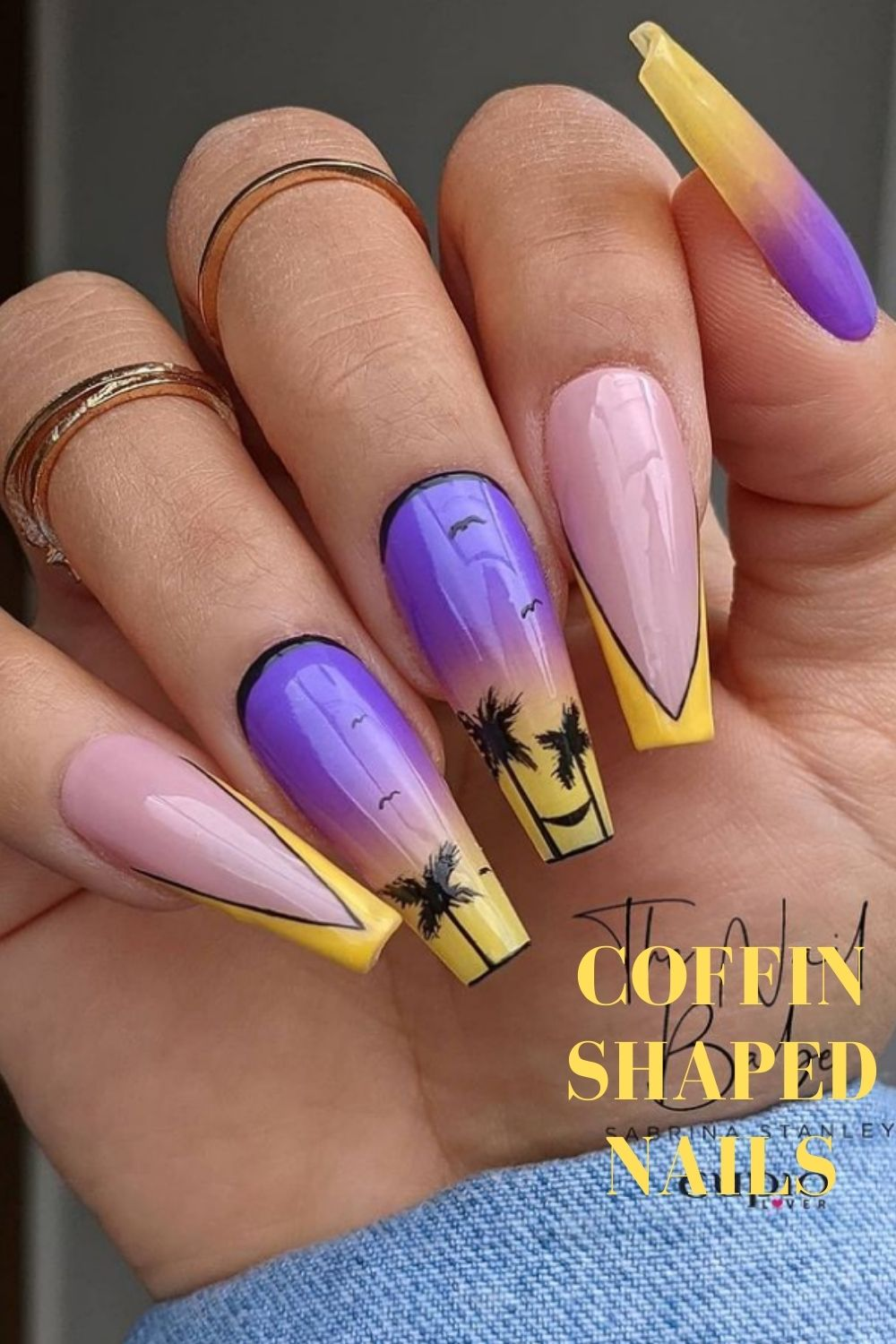 Yellow and pink beach nails