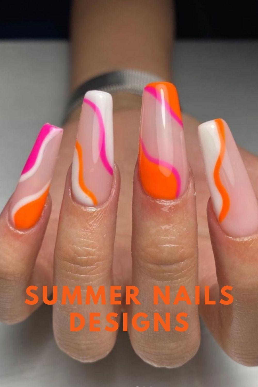 White and orange, nude coffin nails designs