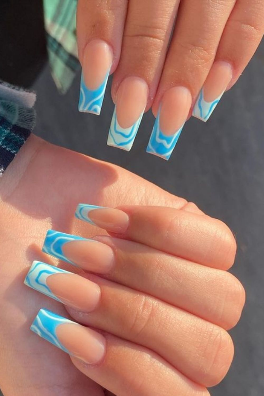 Light blue tip coffin nails art