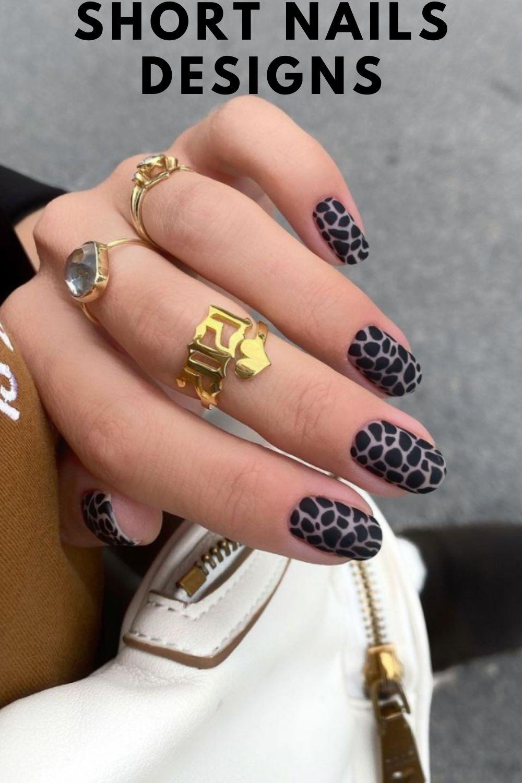 Black leopard short nails ideas