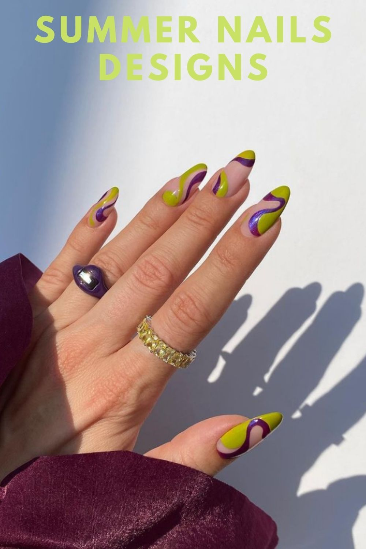 Neon almond nails art