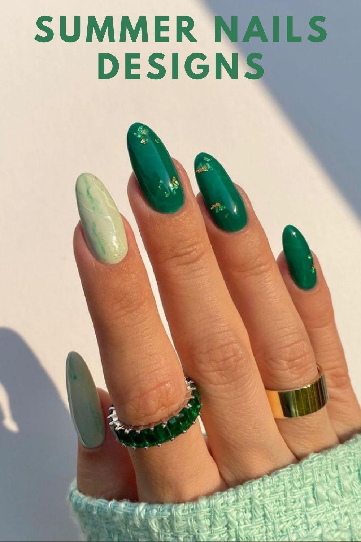 Dark green almond shape nail