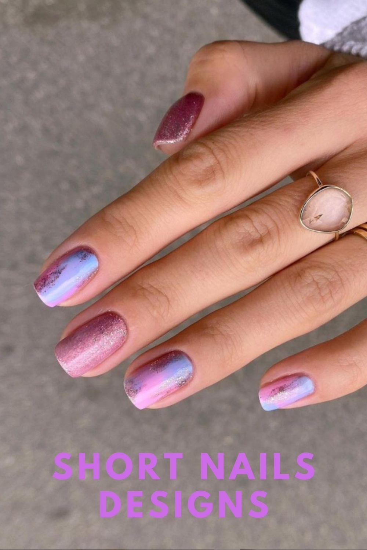Glitter pink nails art
