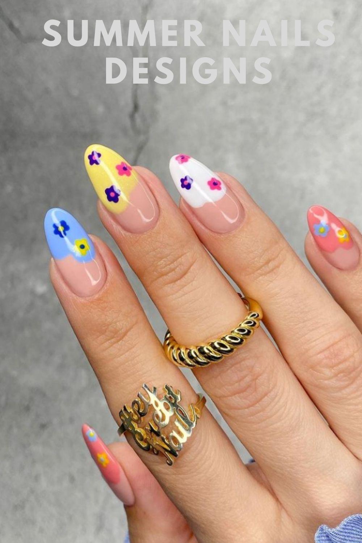 Flower acrylic almond nails design