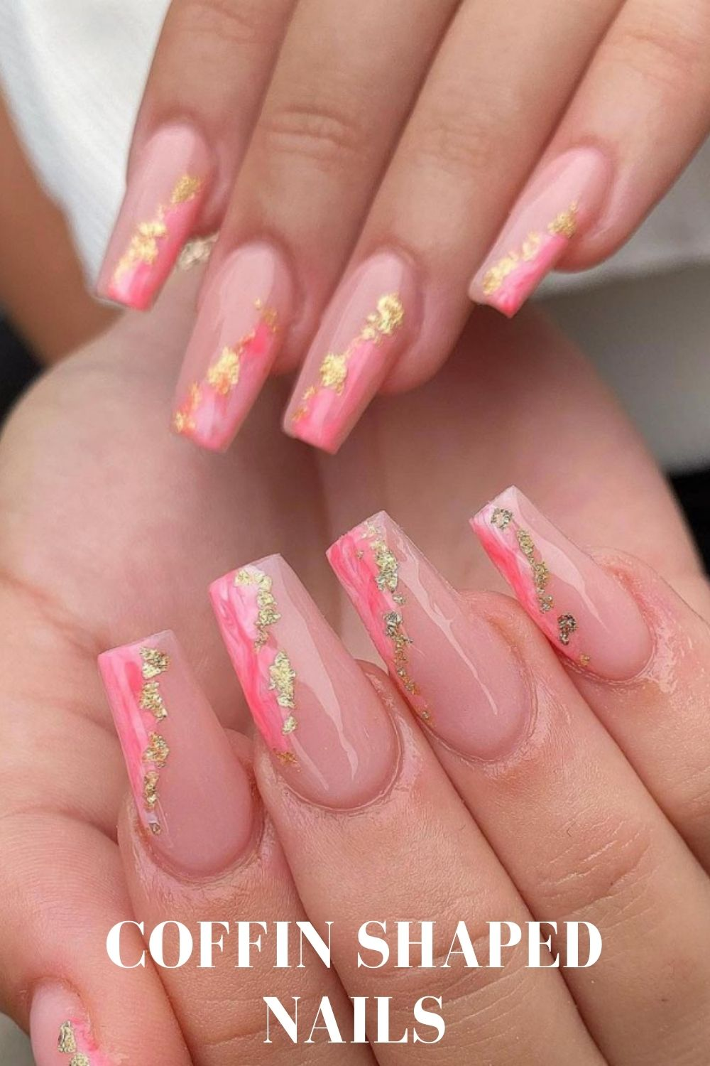 Gold and pink coffin nail art