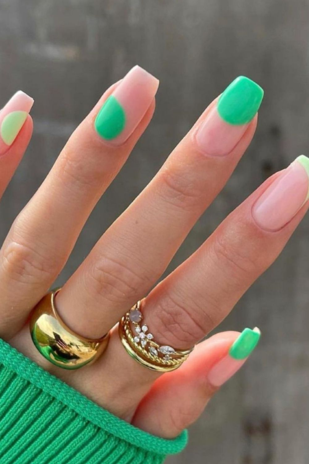 Neon and pink square nails designs