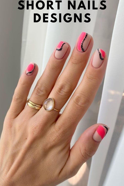 Pastel Pink and black short nails ideas