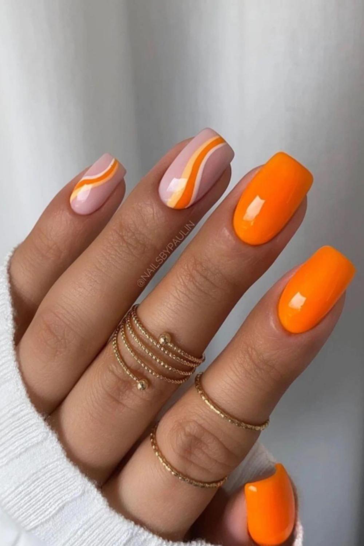 Orange and pink short nails ideas