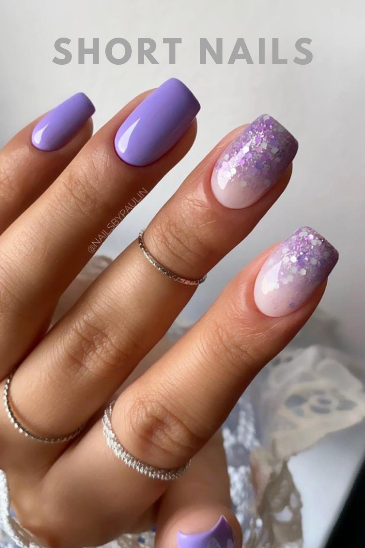 Glitter purple short nail art designs