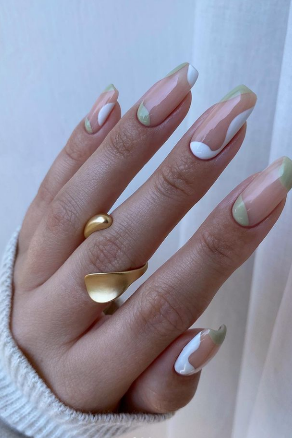 Neon green and white square nails