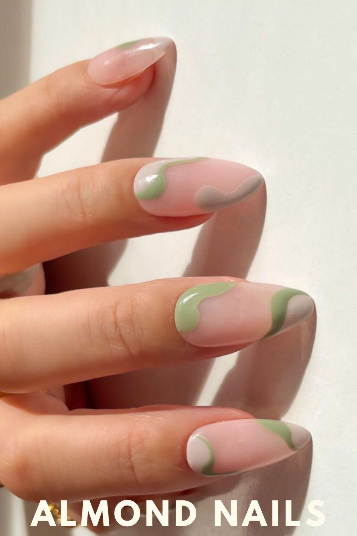 Light green almond nails ideas