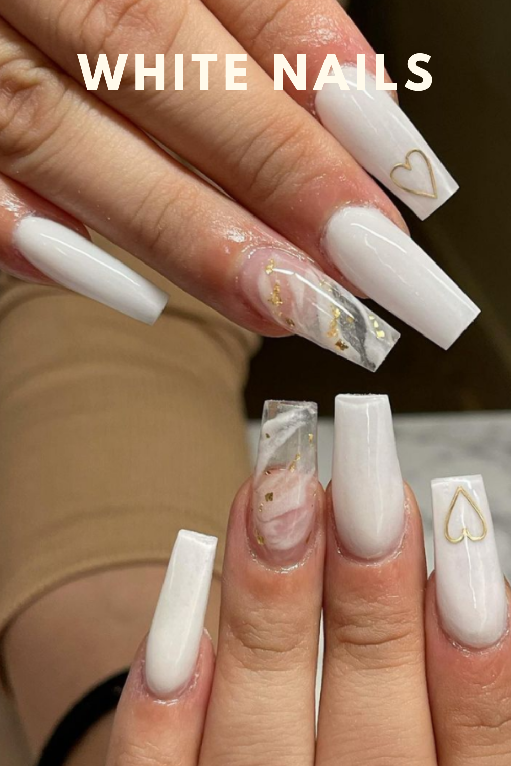 Gold and white nails ideas with heart