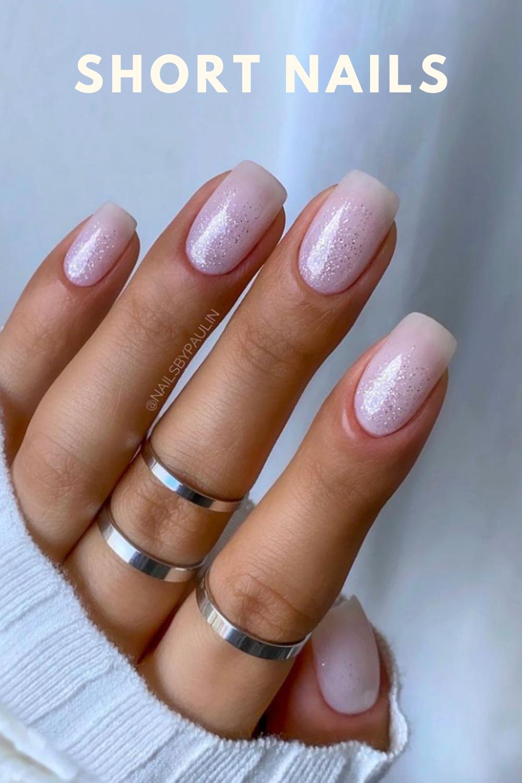 Glitter pink and white short nail art designs