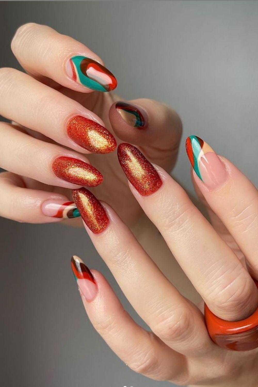 Glitter almond nails designs