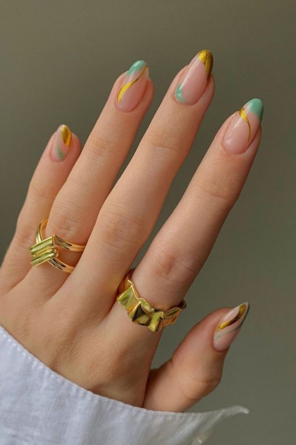 Yellow and light green almond nails