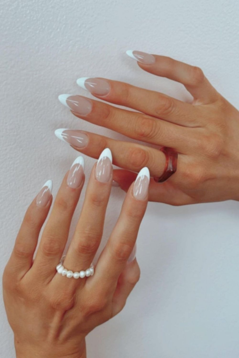 French almond nails art design